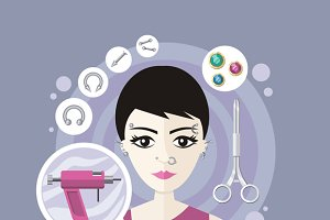 Piercing Salon Flat Style Design