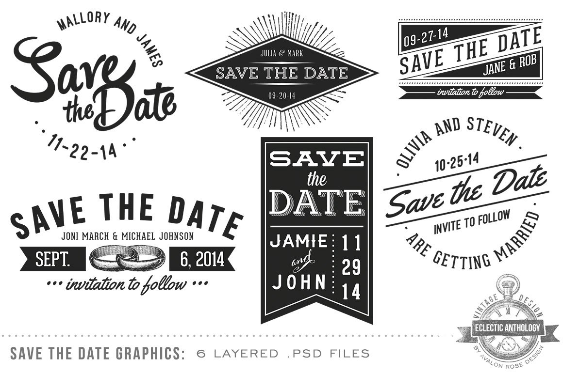 vintage save the date overlays graphic objects creative market