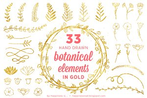 33 Gold Handdrawn Botanical Elements