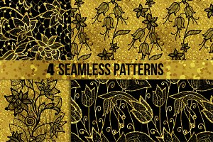 Four gold floral patterns