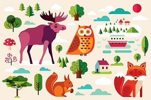 Set with forest animals and nature