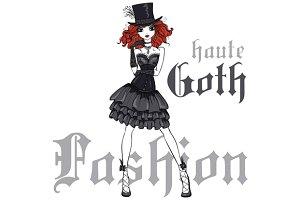 Goth girl in black dress