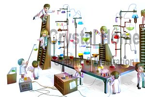 Cartoon kid scientists in laboratory