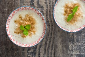 Rice pudding on a rustic wood