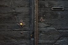 Old medieval wooden door