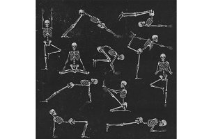 Set of skeleton poses yoga