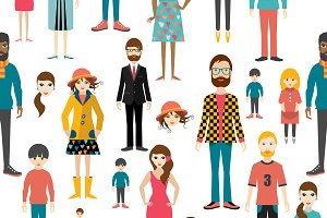 People pattern. Flat figures.