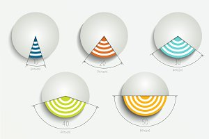 Round, circle 3D charts.