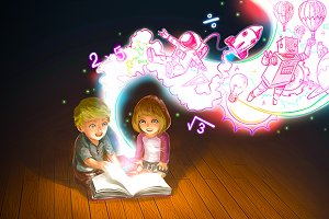 Cartoon couple kid reading text book