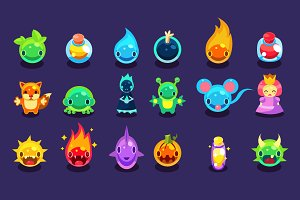 Cartoon funny monsters set