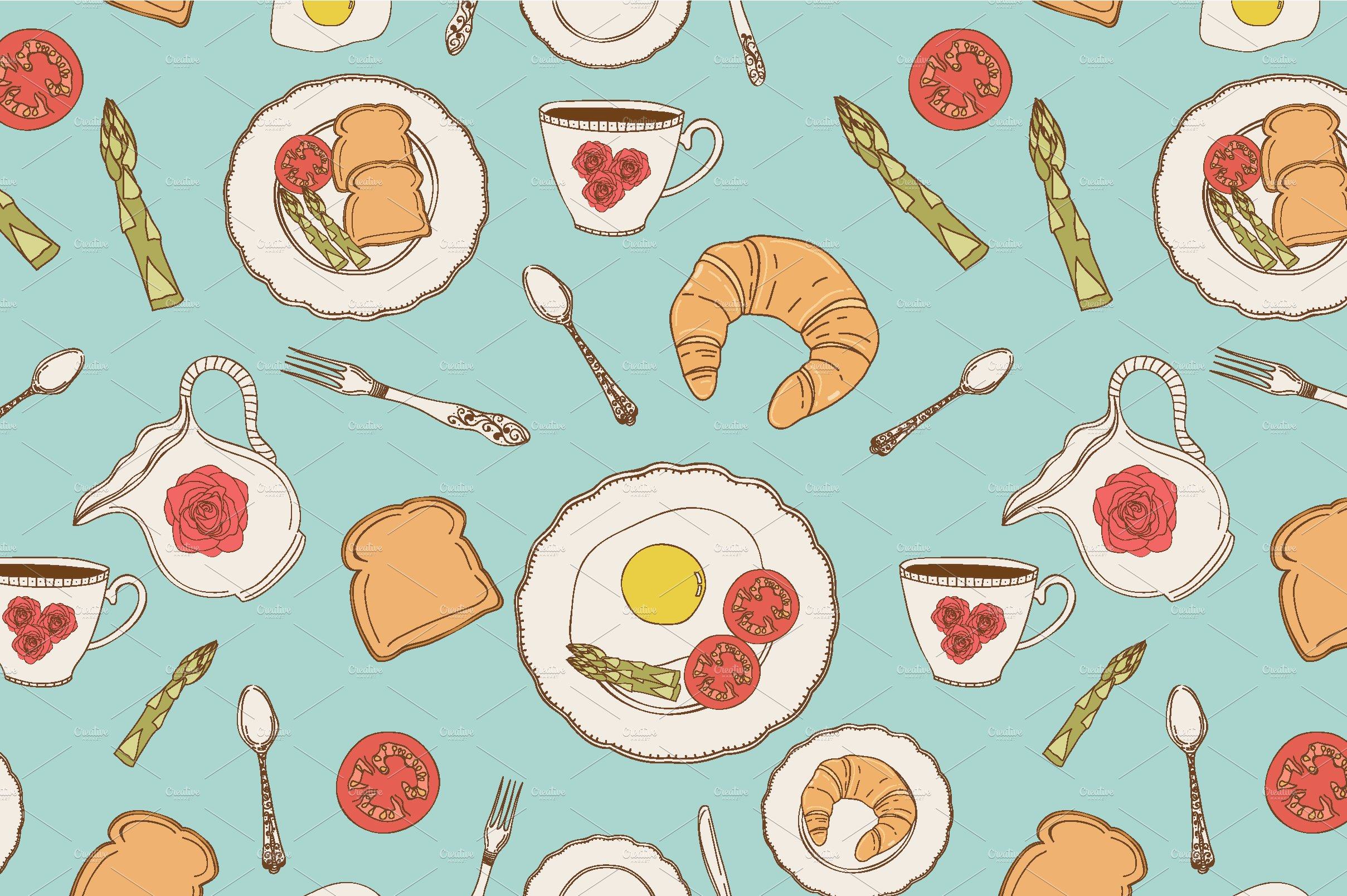 Vector breakfast patterns. ~ Patterns ~ Creative Market