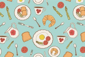Vector breakfast patterns.