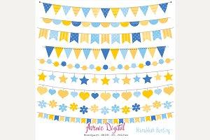 Hanukkah Bunting Banner Clipart