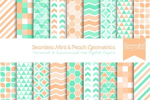 Seamless Mint & Peach Geometrics