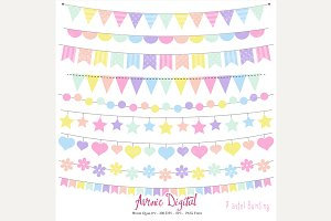 Pastel Rainbow Bunting Banners