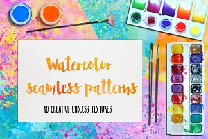 Watercolor Seamless Patterns.