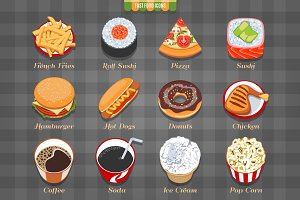 Fast Food Isometric Icons