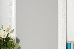 White picture frame with flowers