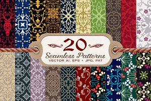 20 Damask & Floral Seamless Patterns