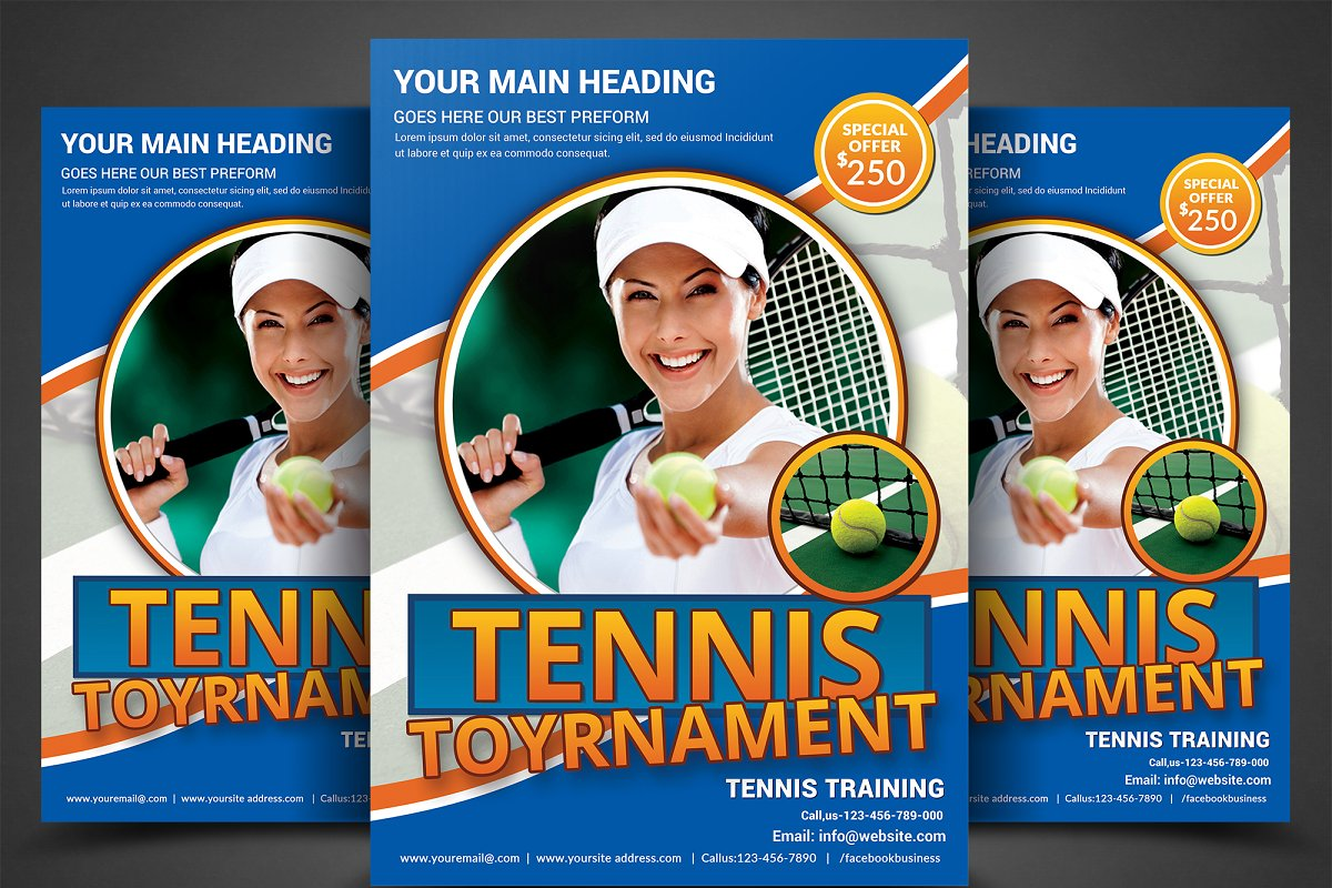 tennis flyer template flyer templates creative market.html
