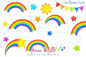 Cute Rainbow Clipart + Vector