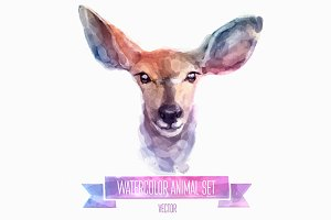 Watercolor set of animals | Deer