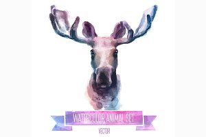 Watercolor set of animals | Elk