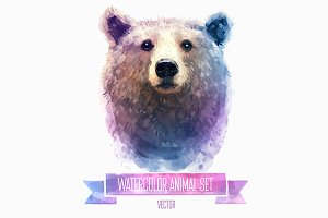 Watercolor set of animals | Bear