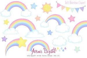 Pastel Rainbow Clipart + Vector