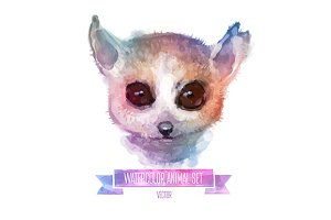 Watercolor set of animals | Lemur