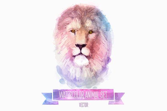 Watercolor set of animals   Lion