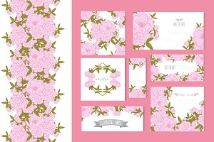 Pink Peony Card Templates + Patterns