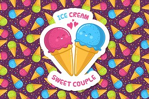 "Illustrations ""Ice cream""+ patterns"
