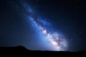 Landscape with Milky Way. Night sky