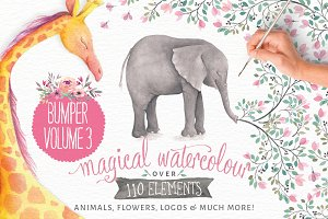 Magical Watercolor animals Vol 3