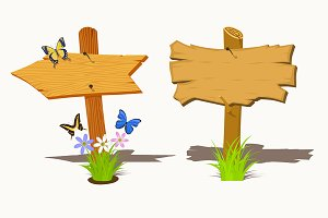Set of Wooden signboard