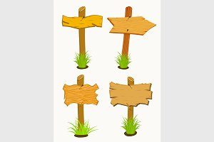Set of Wooden sign boards.