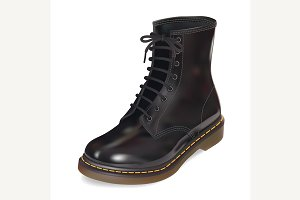 black leather boot.