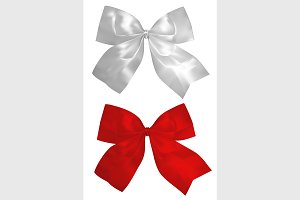 red and silver bows