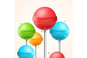 Candy Colorful Lollipops Background