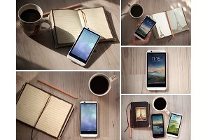 Android Smartphone,5 PSD Mock-Ups