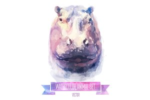 Watercolor set of animals | Hippo