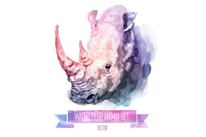 Watercolor set of animals | Rhino