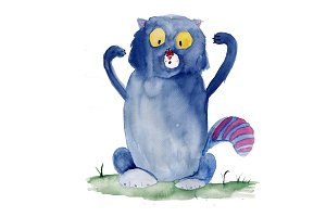 Blue cat with butterfly watercolor