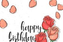 Roses Postcard. Happy Birthday