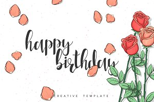 Roses Postcard. Happy Birthday