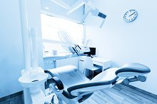 Dentist's office in blue tone.