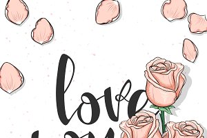 Roses Postcard. Love you