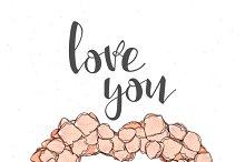 Roses Postcard. Love you