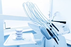 Dental equipment in blue tone.